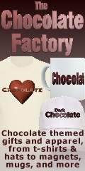 The Chocolate Factory: Unique chocolate-themed t-shirts and gift items, including mugs, hats, stickers, buttons, magnets, and  more.