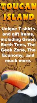 Toucan Island: Unique gifts for all ages, including Green Tree Tees, the Geek Zone, and the Economy.