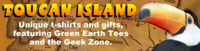 Toucan Island: Unique t-shirts and gifts, featuring Green Earth Tees, the Geek Zone, Silly Sayings, and more.