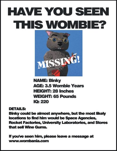 Missing Binky Poster: Have You Seen This Wombie?