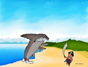 Fraz Tames A Shark by Debbie Adams