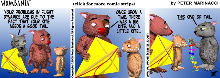 Wombania comic strip Kite Tails