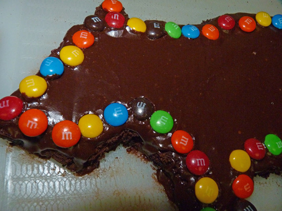 Wombat Brownie decorated with chocolate M&Ms