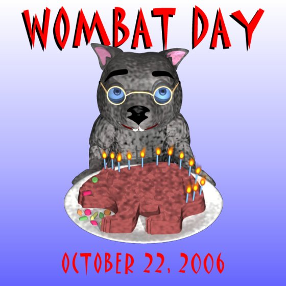 Wombat Day Cake Served By Binky, 2006